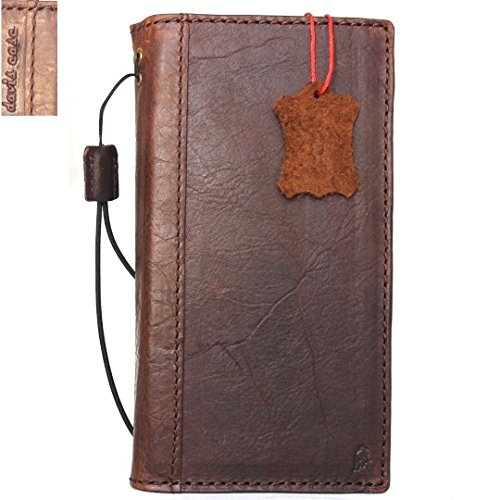 Genuine Leather Case for Samsung Galaxy Note 8 Book Wallet Cover Brown Handmade Retro Luxury Cards Slots Slim Daviscase 1948