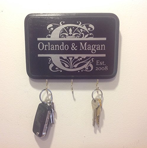 Black & Silver/ Black & Gold Personalized Monogram Key Holder. Perfect for wedding gift, anniversary gift, engagement gift and bridal shower gift. (Sawtooth Monogram)