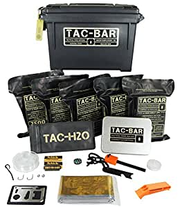 Tac-Bar - Ready to Eat Tactical Food Rations for 5 Days (12,500cals) with 10 Aquatabs for Water Purification. Free Survival Kit