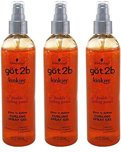 Gel Weightless Curling Shine Curl - Got 2B Kinkier Curling Spray Gel 9oz (3 Pack)