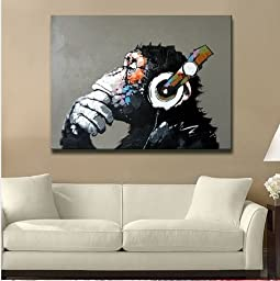 Modern Gorilla Monkey Music Oil Painting Wall Painting Canvas Painting Home Decor Oil on Canvas 33x33 inches