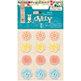 Papermania Sew Lovely Resin Flower Stickers, 12-Pack