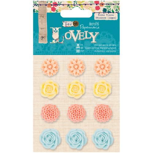 Papermania Sew Lovely Resin Flower Stickers, 12-Pack by Papermania