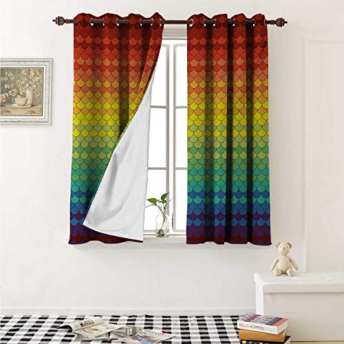 Hengshu Fiesta Decorative Curtains for Living Room Colorful Scale Pattern Snake and Dragon Skin Abstract Composition Rainbow Inspired Curtains Kids Room W72 x L72 Inch Multicolor