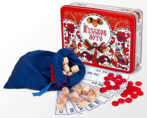 Russian Bingo Game Set in a Tin Box Russian - Game Board Lotto