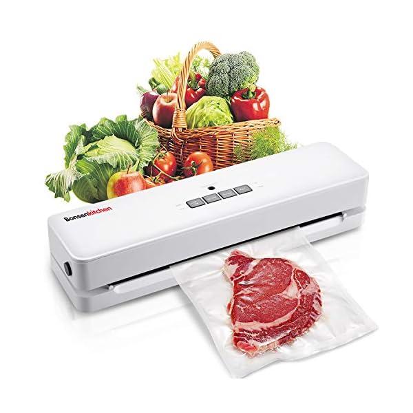 Macchina Sottovuoto per Alimenti Bonsenkitchen, Sigillatore sottovuoto per alimenti freschi sia secchi che umidi, bianco… 1