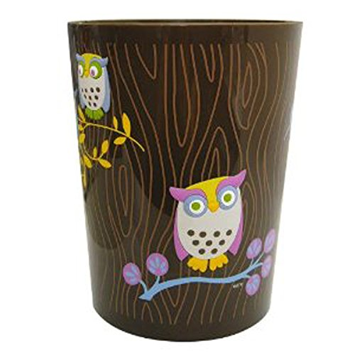 Allure Home Creations Awesome Owls Printed Plastic Wastebasket