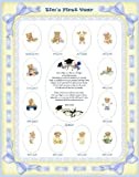 11 X 14 Size Personalized Blue Baby Boy Name Yellow Ribbon Border My School Years Picture Photo Mat with Teddy Bear Illustration and Poem Verse As Baby Shower, Birthday or Nursery Newborn Gift