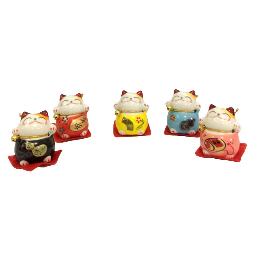 5Pcs/Set Lucky Cat Solar Powered Swing Toy Car Dashboard Room Ornament E Durable and Practical
