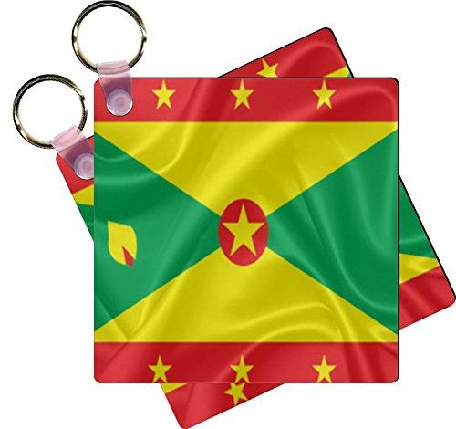 Rikki Knight Grenada Flag Design Square Shaped Key Chains - Identifier Tags (Set of 2)