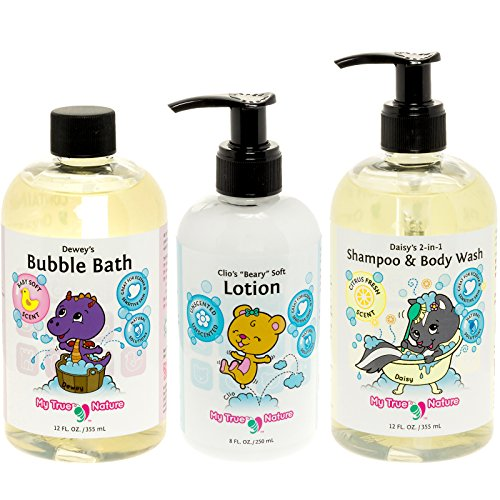 All Natural Tubby Time Clean & Soft Kids Bubble Bath, Shampoo, & Lotion Set - 3 Piece Set for Sensitive Skin, 40 oz