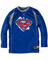 Superman Boys Long Sleeve Crew Neck Ringer Jersey with Logo