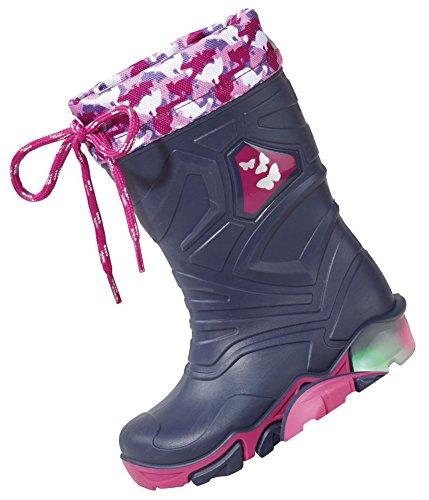LUPILU® Kinder LED-Regenstiefel, ungefüttert navy pink Schmetterling