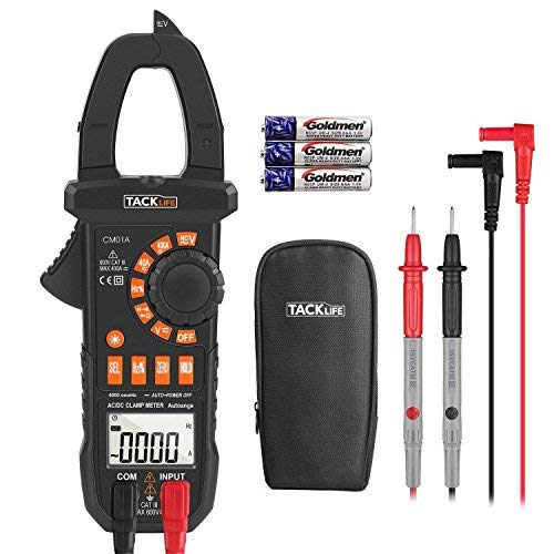 Digital Clamp Meter Multimeter, 4000 Counts with NCV Auto-Ranging Testing AC/DC Current&Voltage, Continuity Electrical Tester, Diode, Resistance(Ohm), Capacitance, Frequency(Hz) - Tacklife CM01A Amp Ac Current Clamp