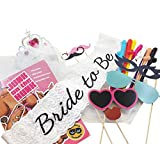 Bachelorette Party Kit with Supplies & Games: Photo Booth Props, Bride To Be Tiara & Sash, Novelty Straws & Pin The Junk On The Hunk Game