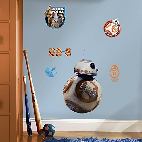 "RoomMates RMK3147GM Star Wars EP VII BB-8 P&S Giant Wall Decal, 11.81"" Wide x 19.22"" High"