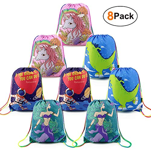 Drawstring-Party-Favor-Bags Bulk for Girls Boys Birthday 8 Pack, Cute Pattern Drawstring Gift Bags for Party -