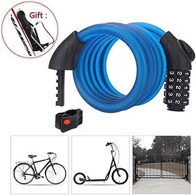 Candado Bicicleta Combinacion con Código de 5 Dígitos,Candado Moto ...