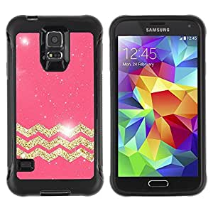Suave TPU Caso Carcasa de Caucho Funda para Samsung Galaxy S5 SM-G900 / Gold Stars Pink Pattern Glitter / STRONG