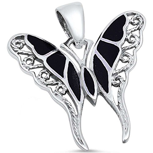 (Blue Apple Co. Filigree Swirl Butterfly Pendant Charm Simulated Black Onyx 925 Sterling Silver)