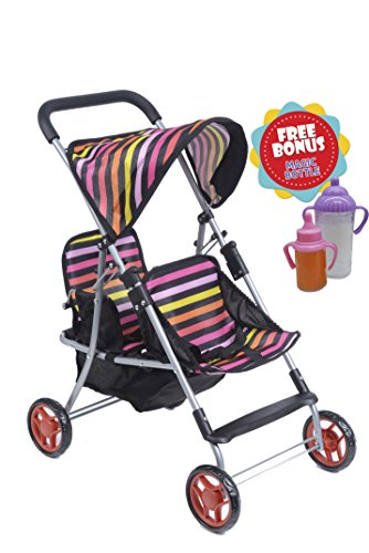 Exquise Buggy, My First DOLL Twin Stroller Front and Back with Basket With 2 FREE Magic Bottles (Twin Doll Stroller)