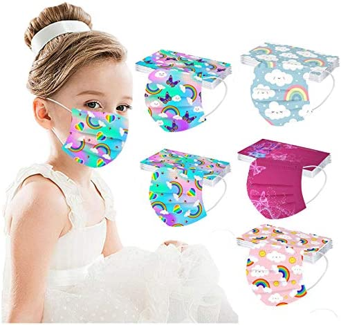 【USA in Stock 】 50PCS Children Disposable Face_MASK Rainbow Print Face Covering Face Protection for Kids Outdoor, Boys Girls Fashion Breathable Industrial 3 Ply Ear Loop Face Fabric for Cycling Camp