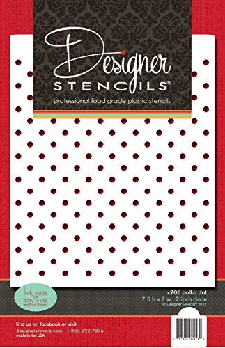 (Designer Stencils C206 Mini Polka Dot Cake Stencil, Beige/Semi-Transparent)