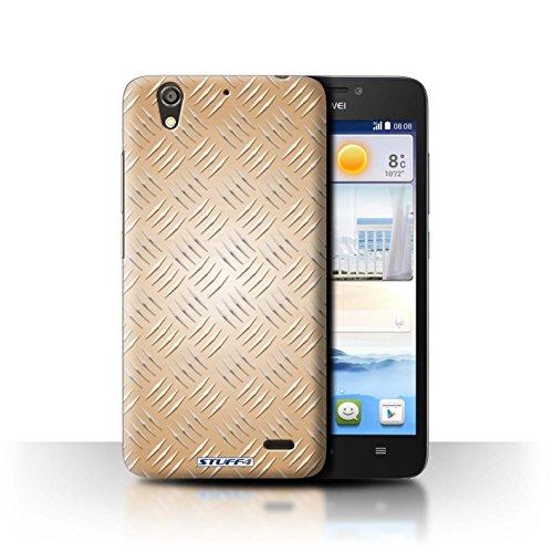 Stuff4 Hülle / Hülle für Huawei Ascend G630 / Gold Muster / Geprägte Metall Mutser Kollektion