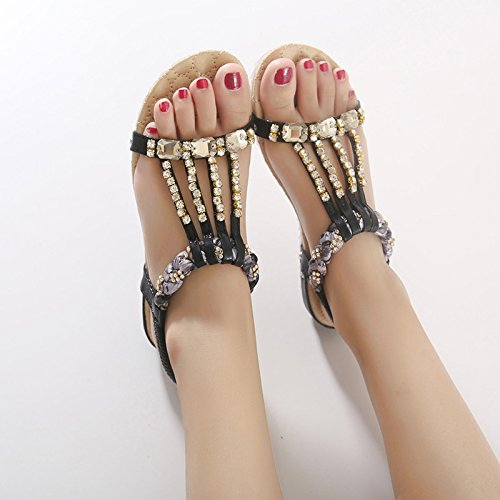 CARETOO Femme Fille Sandales Bohémien Plates Plage Sandales Mariage Sandales Piscine Slim Flip Flops Noir MI5JgbMZh