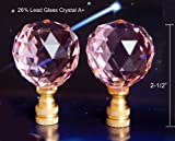 Set of 2 of 26% Lead Crystal Lamp Shade Finials, Harp Topper - 40 mm – Pink