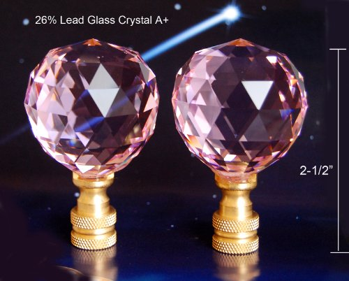 Set of 2 of 26% Lead Crystal Lamp Shade Finials, Harp Topper - 40 mm – Pink by Blessing Light