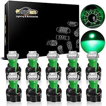 Partsam T5 73 74 Instrument Panel Gauge Cluster Dashboard LED Light Bulbs with Twist Sockets-10Pcs Green