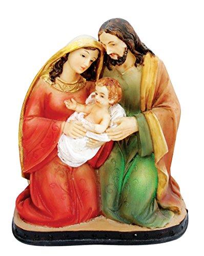 (4.8 Inch Holy Family with Light Home Decoration Lamp Decorative Votive Religious Light Saint Mary, Saint Joseph and Jesus Statue)