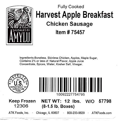 Sausages by Amylu Breakfast Harvest Apple Chicken Sausage 12 lb