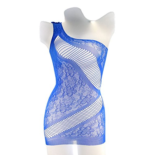 Women Sexy Hot Exotic Apparel Babydolls One Shoulder Open Bra Sex Underwear Sexy Costumes Lady Intimates Pajamas,Blue,One Size