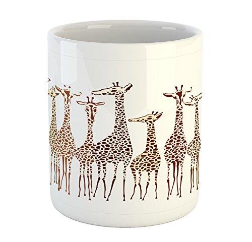 Lunarable Safari Mug, Tropical Giraffes Exotic Climates Wilderness Savannah Animals Artful Illustration, Printed Ceramic Coffee Mug Water Tea Drinks Cup, Multicolor