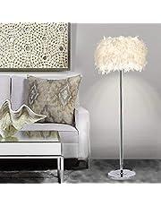Lámpara de pie lámpara de pie de plumas de sombra transparente luz de pie para sala de estar de dormitorio estilo moderno simple (6W blanco interruptor de pedal portalámparas E27 de luz cáli