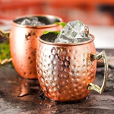 CNNIK Tazas de Cobre de Moscow Mule Juego de Dos, Copa de cóctel de 530 ml - Apto para Cualquier Bebida Helada - Cerveza, Coctel - Bar o en casa