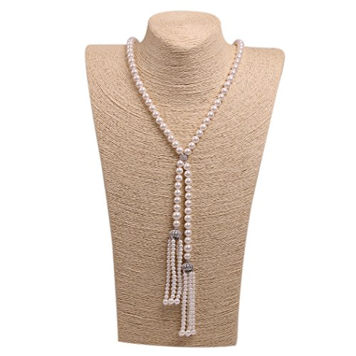 Single Pendant Mounting - ART KIM Princess Sliver Crystal Pendant Single Strand Tassels Pearl Necklaces (Cube Knot)