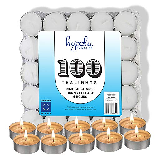Hyoola Tea Lights Candles - 100 Bulk Candles Pack - Natural Palm Oil Tea Light - European Quality White Unscented Tealight Candles - 4 Hour Burn Time