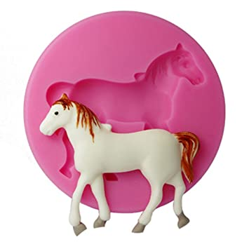 7f7cc322b1 FOUR-C Silicone Cupcake Mold Horse Embossing Mould Cupcake Decoration Color  Pink