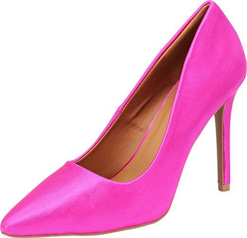 Cambridge Select Women's Classic Closed Pointed Toe Slip-On Stiletto High Heel Pump,8.5 B(M) US,Fuchsia Satin