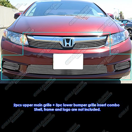 Civic Honda Grilles Billet - APS Fits 2012 Honda Civic Sedan Billet Grille Combo #N19-A14216H
