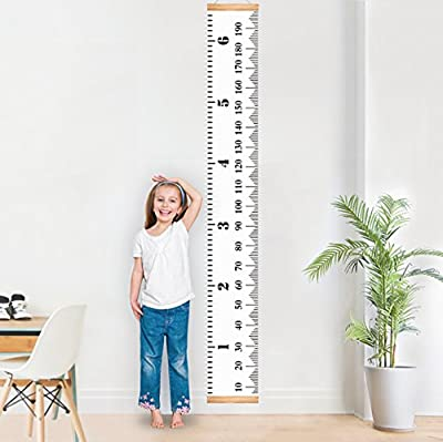 "Baby Growth Chart Handing Ruler Wall Decor for Kids, Canvas Removable Height Growth Chart By Mibote 79"" x 7.9"""