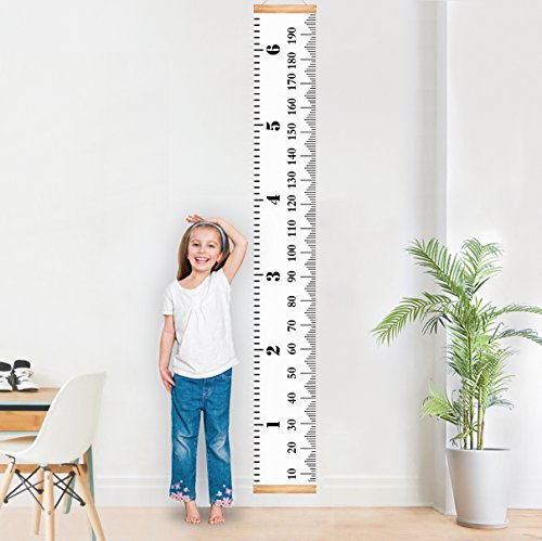 MIBOTE Baby Growth Chart Handing Ruler Wall Decor for Kids, Canvas Removable Height Growth Chart 79″ x 7.9″