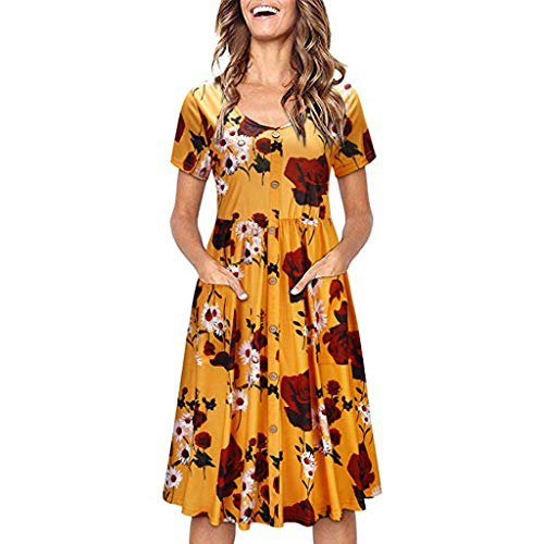 - Women Button Swing Midi Dress, Floral Print O-Neck Short Sleeve Pleated A-Line Dresses with Pockets Sundress (2X-Large, Yellow)