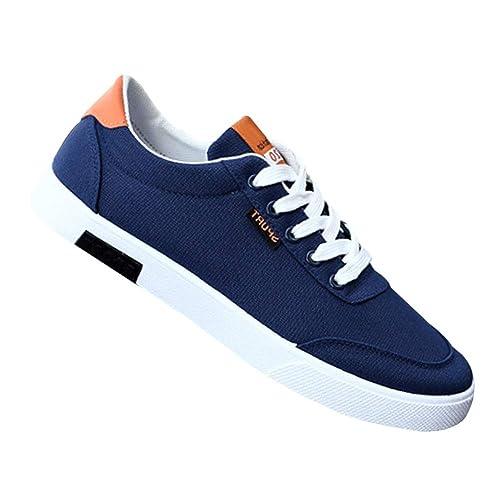 Gtagain Alpargatas Gimnasio Zapatos Hombre - Hombres con Cordones Flat Resbalón Entrenadores Plimsolls Plimsole Lona Zapatillas Sneaker Cómodo Informal ...