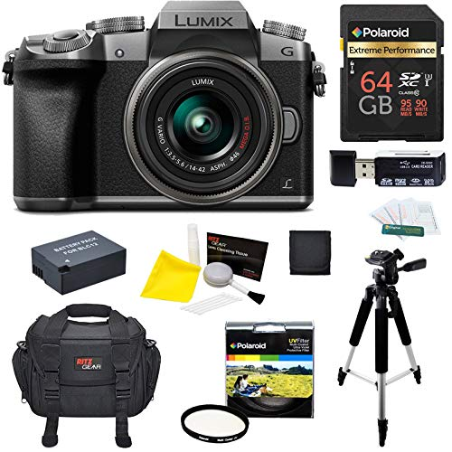 - Panasonic DMC-G7KS Digital Single Lens Mirrorless Camera 14-42 mm Lens Kit, 4K + Starter Bundle + 64 GB High Speed 10 UHS3 + Tripod + Polaroid 46mm UV Filter + Battery + Bag