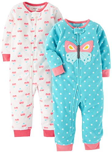 Carter's Baby Girls' 2-Pack Fleece Footless Pajamas, Heart/Butterfly, 18 Months