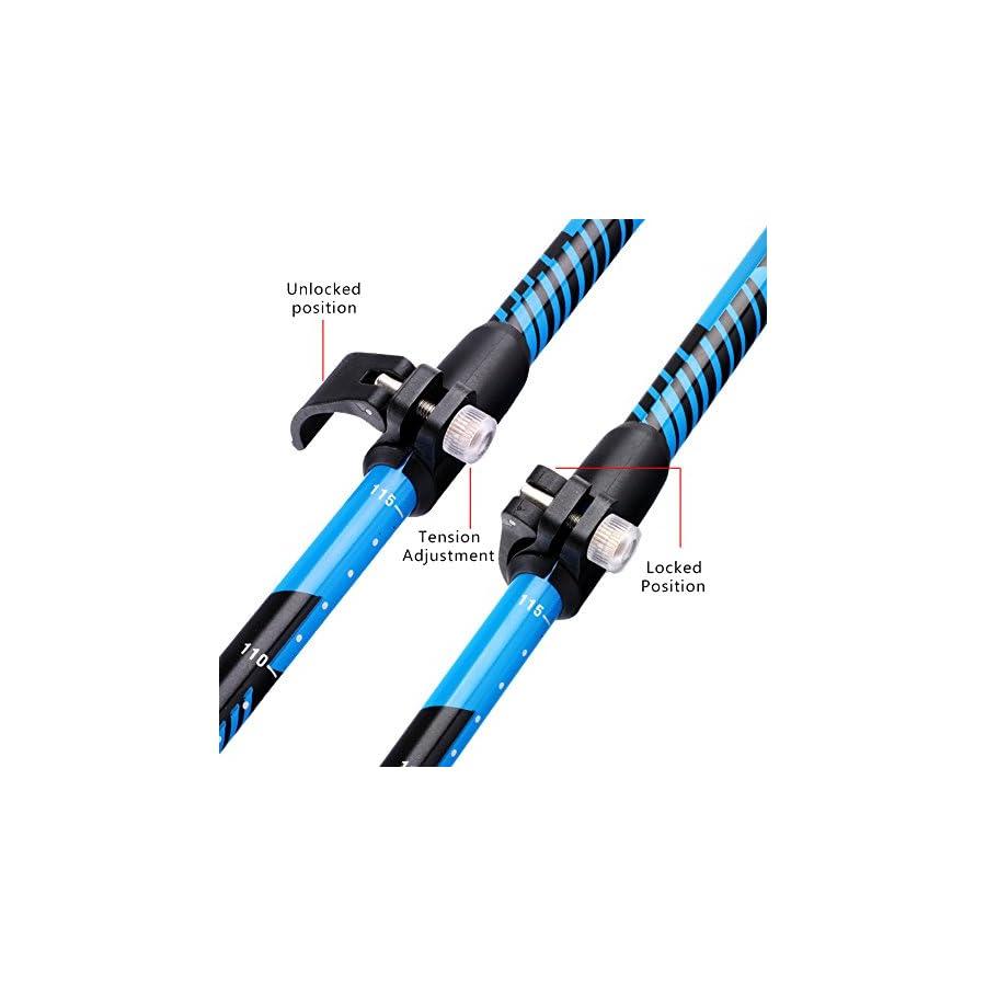 Alafen Aluminum Foldable Ultralight Travel Trekking Hiking Pole with Adjustable Height